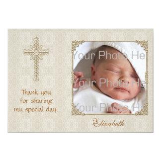 Cartão com fotos religioso do creme Lace2 Convite 12.7 X 17.78cm