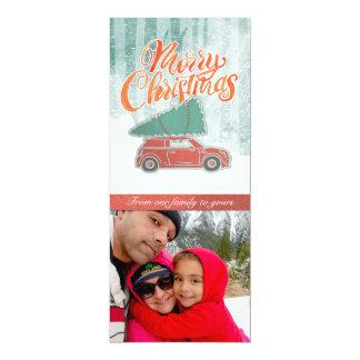 Cartão com fotos retro da árvore do Feliz Natal Convite 10.16 X 23.49cm