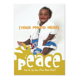 Cartão com fotos retro da paz & da alegria convite