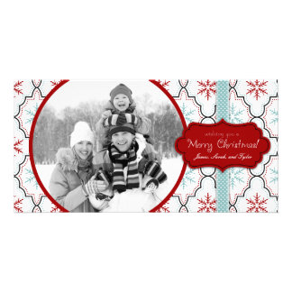 Cartão com fotos retro dos flocos de neve cartão com foto