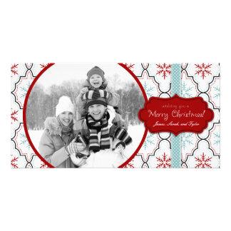 Cartão com fotos retro dos flocos de neve