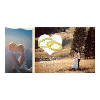 Cartão com fotos romântico do anúncio do casamento