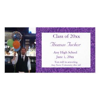 Cartão com fotos roxo da graduação do brilho cartão com foto