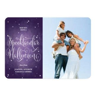 Cartão com fotos roxo elegante do Dia das Bruxas Convite 12.7 X 17.78cm