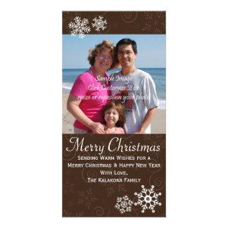 Cartão com fotos rústico 4x8 do floco de neve do cartão com foto
