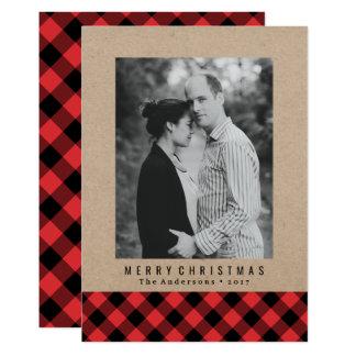 Cartão com fotos rústico do feriado da xadrez   do