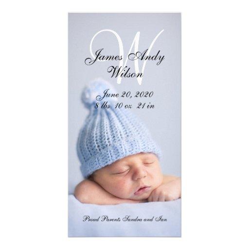 Cartão com fotos simples do anúncio do nascimento