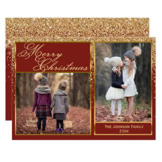 Cartão com fotos Sparkling do Feliz Natal do Convite 12.7 X 17.78cm