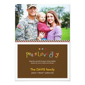 Cartão com fotos tomado partido dobro militar do convite 12.7 x 17.78cm