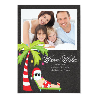Cartão com fotos tropical da família do feriado do