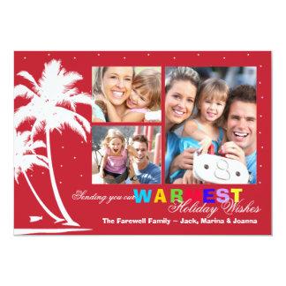 Cartão com fotos tropical do feriado das palmas convite
