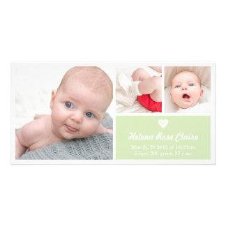 Cartão com fotos verde do anúncio do nascimento do cartão com foto
