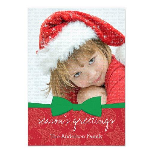 Cartão com fotos verde do feriado do Natal da fita Convites