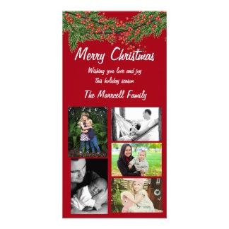 Cartão com fotos vermelho da família do Natal da Cartão Com Foto