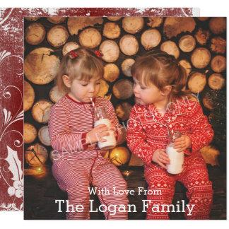 Cartão com fotos vermelho do azevinho do Feliz