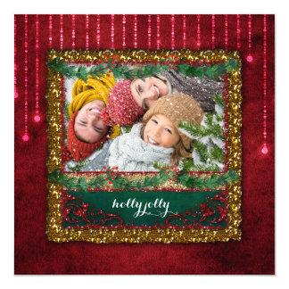 Cartão com fotos vermelho do brilho do ouro das