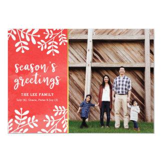 Cartão com fotos vermelho do feriado