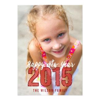 Cartão com fotos vermelho do feriado do brilho convites personalizados