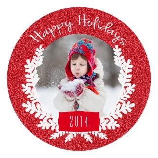 Cartão com fotos vermelho do feriado do brilho convites