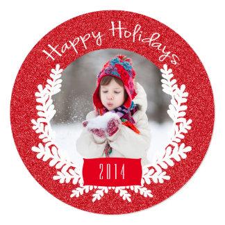 Cartão com fotos vermelho do feriado do brilho | convite quadrado 13.35 x 13.35cm