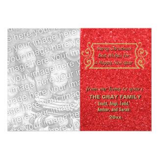 Cartão com fotos vermelho do feriado do brilho do