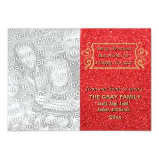 Cartão com fotos vermelho do feriado do brilho do convite 12.7 x 17.78cm