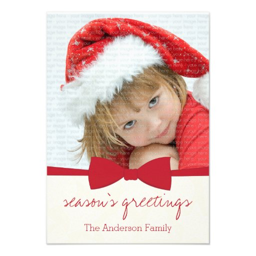 Cartão com fotos vermelho do feriado do Natal da Convites Personalizados
