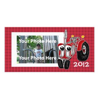 Cartão com fotos vermelho do trator