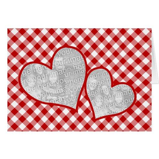 Cartão com fotos vermelho do vazio do guingão do c