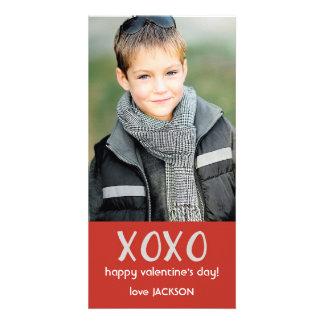 Cartão com fotos vermelho dos namorados de XOXO