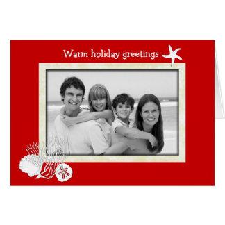 Cartão com fotos vermelho e branco do Natal