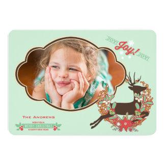 Cartão Cartão com fotos vermelho e da hortelã dos cervos