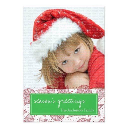 Cartão com fotos vermelho e verde do feriado do convite personalizados