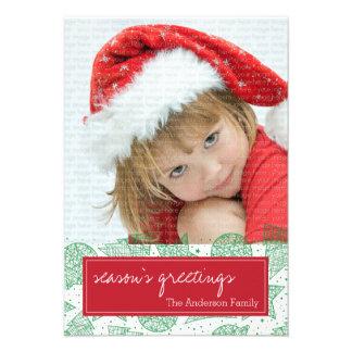 Cartão com fotos vermelho e verde do feriado do convites personalizado