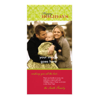 Cartão com fotos vermelho e verde intemporal do fe