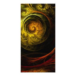 Cartão com fotos vermelho floral da arte abstracta