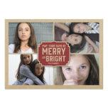 Cartão com fotos vermelho rústico do feriado do qu