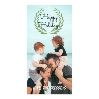 Cartão com fotos vertical da grinalda boas festas cartão com foto