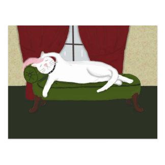 Cartão com ilustração engraçada do gatinho do