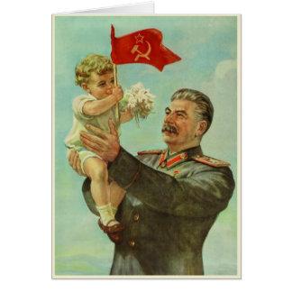 Cartão com impressão da propaganda de Stalin do vi