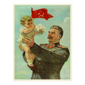 Cartão com impressão da propaganda de Stalin do vi Cartões Postais