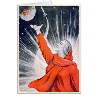 Cartão com impressão da propaganda de URSS