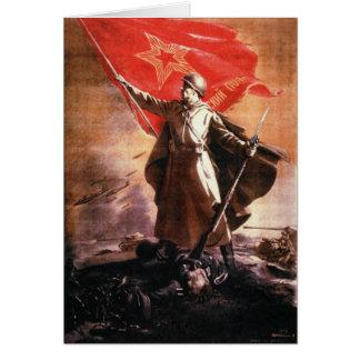 Cartão com impressão da propaganda do russo WWII