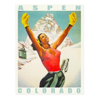 Cartão com impressão do esqui do vintage de Aspen Cartão Postal
