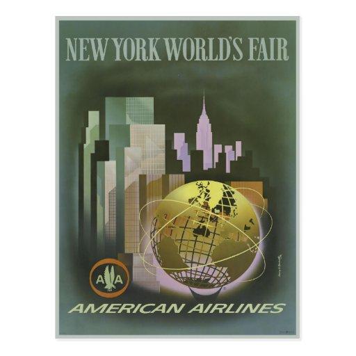 Cartão com impressão do poster da feira de mundo d cartao postal