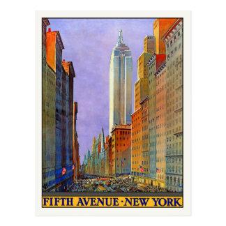 Cartão com impressão do poster de New York do vint Cartão Postal