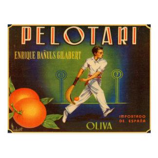 Cartão com impressão espanhol da etiqueta da caixa cartão postal