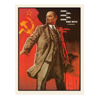 Cartão com impressão retro do poster de Lenin Cartão Postal