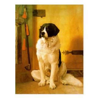 Cartão com impressão velho da pintura de 1852 cães