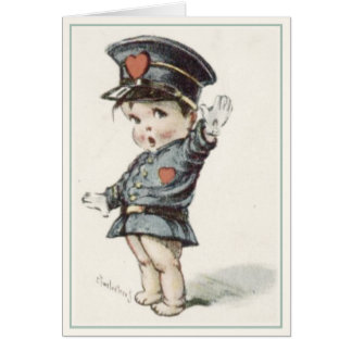 Cartão com o bebê ilustrado da polícia do amor